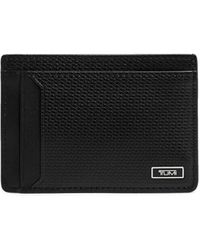 Tumi Monaco Embossed Leather Money Clip Card Case - Black