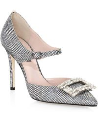 SJP by Sarah Jessica Parker Trinity Embellished Buckle Pumps - Metallic