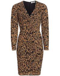Pamella Roland Leopard Sequin Cocktail Dress - Brown