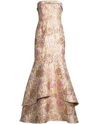 Aidan Mattox Jacquard Strapless Tiered Gown - Pink