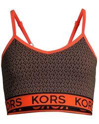 MICHAEL Michael Kors Logo-print Sports Bra - Brown