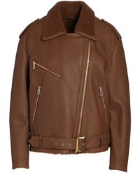 Saks Fifth Avenue Leather Shearling-lined Moto Jacket - Brown