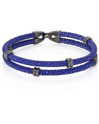 Stinghd Blackened Silver & Stingray Wrap Bracelet - Blue