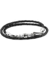 King Baby Studio Sterling Silver & Leather Double-wrap Bracelet - Metallic