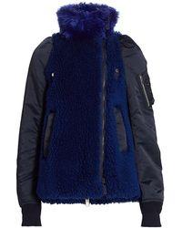 Sacai Faux Shearling Coat - Blue