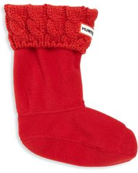 HUNTER - Little Girl's Six-stitch Cabled Boot Socks - Lyst