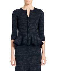 Carolina Herrera - Jacquard Peplum Knit Jacket - Lyst