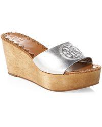 Tory Burch - Women's Patty Platform Wedge Slide - Silver - Size 7 - Lyst