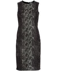 Alice + Olivia Larita Snakeskin Embossed Leather Sheath Dress - Black