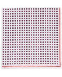 Brunello Cucinelli Tile-print Pocket Square - Red