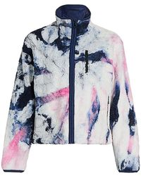 John Elliott Tie-dye Fleece Zip-up Jacket - Blue