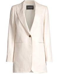 Lafayette 148 New York Beau Oversized Linen Blazer Jacket - Natural