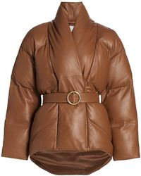 FRAME Leather Wrap Puffer Jacket - Brown