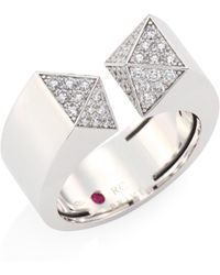 Roberto Coin - Prive Pyramind Pave Diamond & 18k White Gold Open Ring - Lyst