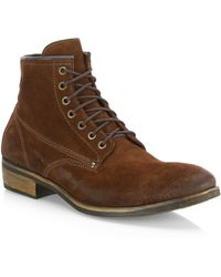 Saks Fifth Avenue Collection Distressed Suede Boots - Brown