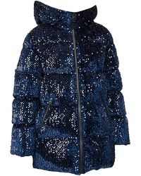 Mackage Hooded Sequin 800 Fill Power Down Puffer Jacket - Blue