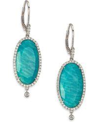 Meira T | Blue Amazonite, Diamond & 14k White Gold Drop Earrings | Lyst