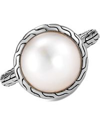 John Hardy Chain Sterling Silver & 11.5-12mm Mabe Freshwater Pearl Ring - Metallic