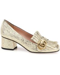 Gucci - Marmont Metallic-leather Fringed Pumps - Lyst