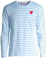 COMME DES GARÇONS PLAY Striped Long-sleeve Top - Blue