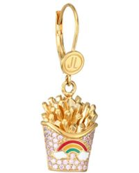 Judith Leiber 14k Goldplated Sterling Silver & Cubic Zirconia French Fry Single Drop Earring - Metallic