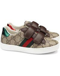 Gucci - Kid's Gg Supreme Canvas Strap Shoes - Lyst