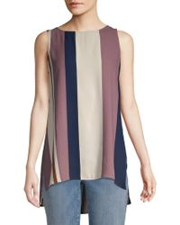 Eileen Fisher - Stripe Bateau Neck Silk Top - Lyst