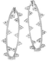 Adriana Orsini - Silvertone Cubic Zirconia Bezel-set Medium Hoop Earrings - Lyst