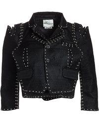 Noir Kei Ninomiya - Chain-stitch Herringbone Cropped Jacket - Lyst