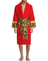 2a50a00ccd Baroque Logo Cotton-jacquard Dressing Gown.  580. Selfridges · Versace -  Barocco Printed Bathrobe By - Lyst