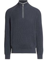 Brunello Cucinelli Ribbed Half-zip Sweater - Blue