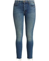 Mother The Stunner Fray Ankle Jeans - Blue