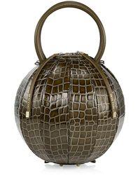 Nita Suri Pilo Croc-embossed Leather Cage Top Handle Clutch - Green