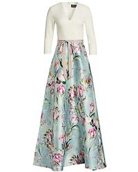 THEIA V-neck Floral Skirt Gown - Blue