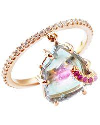 Sharon Khazzam Shimmee 18k Rose Gold, Watermelon Tourmaline, Pink Sapphire & Diamond Charm Ring - Metallic