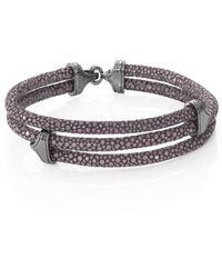 Stinghd Blackened Silver & Stingray Triangle Wrap Bracelet