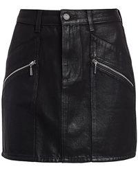 PAIGE Aideen Coated Denim Skirt - Black