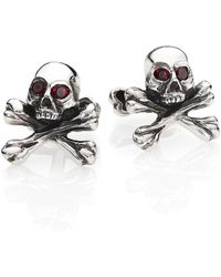 King Baby Studio Skull & Cross Bones Cuff Links - Metallic