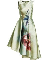 Rubin Singer Women's Asymmetrical Floral-print A-line Dress - Green