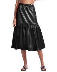 STAUD Orchid Vegan Leather Tiered Midi Skirt - Black