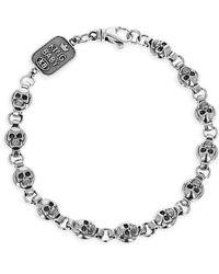 King Baby Studio New Classics Sterling Silver Round Skull Chain Bracelet - Metallic
