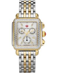 Michele Watches - Deco Ii Diamond, Mother-of-pearl, 18k Goldplated & Stainless Steel Bracelet Watch - Lyst