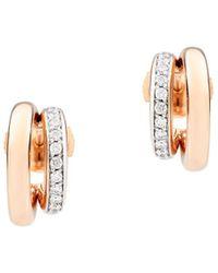 Pomellato Iconica 18k Rose Gold & Diamond Double-hoop Earrings - Metallic
