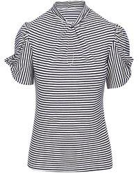 7 For All Mankind Stripe Twist-neck T-shirt - Blue
