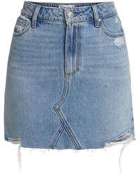 PAIGE Aideen Raw-hem Denim Mini Skirt - Blue