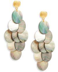 Nest - Statement Grey Mother-of-pearl Chandelier Earrings - Lyst