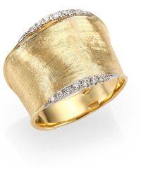 Marco Bicego Lunaria Diamond & 18k Yellow Gold Band Ring - Metallic