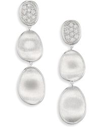 Marco Bicego - Lunaria Small Diamond & 18k White Gold Triple Drop Earrings - Lyst