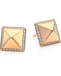 Roberto Coin - Obelisco Diamond 18k Rose Gold Stud Earrings - Lyst