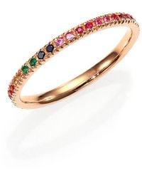 Sydney Evan Multicolor Sapphire, Ruby, Emerald & 14k Rose Gold Rainbow Eternity Band Ring - Metallic